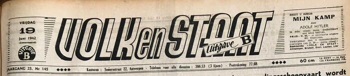 """VNV-Zeitung """"Volk en Staat"""", 19. Juni 1942"""